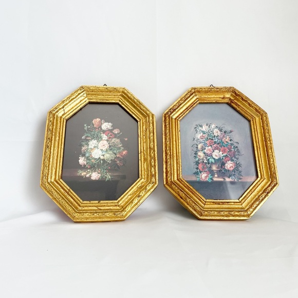 Vintage Italian Gold Plated Framed Flower Prints